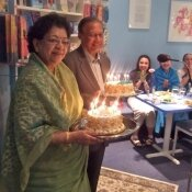 "Mr. Anwarul K.Chowdhury (Bangladesh), Ambassador and former United Nations Undersecretary-General gives a talk on his favorite subject: "" A culture of peace – my recipes for tomorrow's world"" April 28, 2009.  In conclusion the audience celebrates the birthdays of Mr. and Mrs. Chowdhury with cakes and songs."